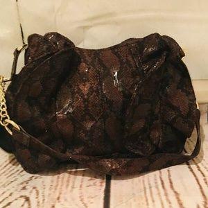 Relic Bags - Relic Brown Faux Snakeskin Felt Shoulder Purse Han